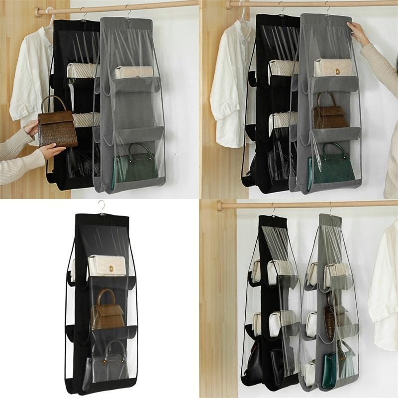 Hanging Two Sided Storage Bag Wall Mounted With Hooks High Capacity Transparent Moisture Proof Bags Organizer Simple Style 5 8af F2