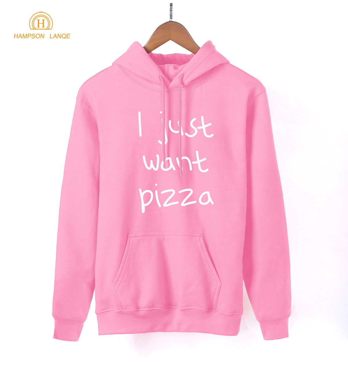 HAMPSON LANQE I Just Want Pizza Adult Pink Kawaii Hoodies 2019 Hot Spring Autumn Sweatshirts Women K-pop Warm Fleece Tracksuit