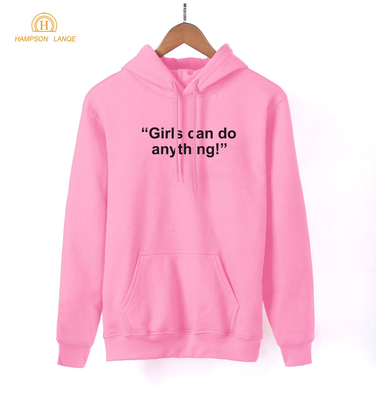 Girls Can Do Anything Girl Power Hoodies Women 2019 Spring Autumn Kawaii Pink Sweatshirt Womens K-pop Fleece Pullovers S-XXL