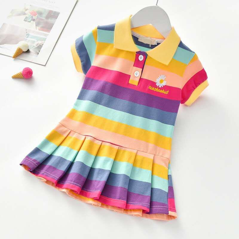 kids designer clothes girls summer cotton fashion polo dress middle and little girls clothing