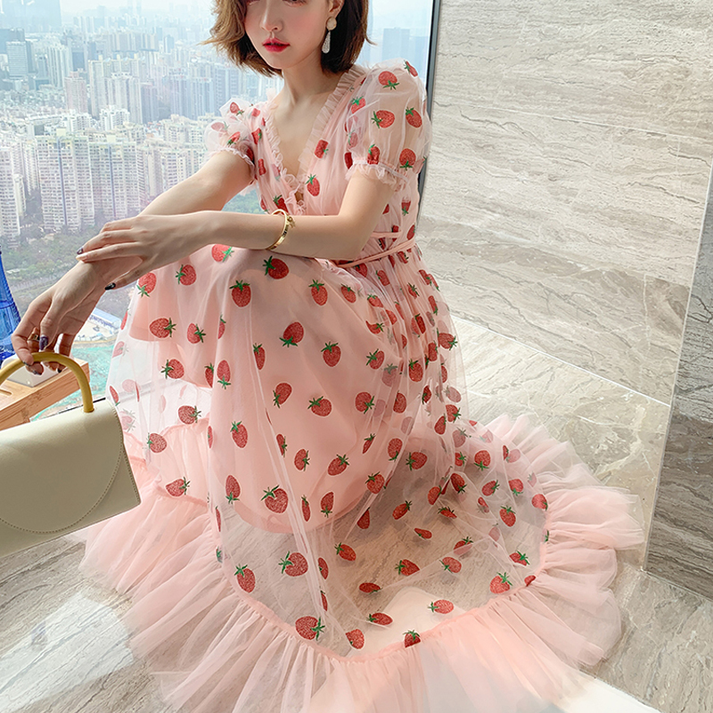 Runway Rhinestone Diamonds Strawberry Pink Mesh Maxi Dress Women Short Puff Sleeve Sexy V-neck Lace-up Bow Tunic Lolita Dress (20)