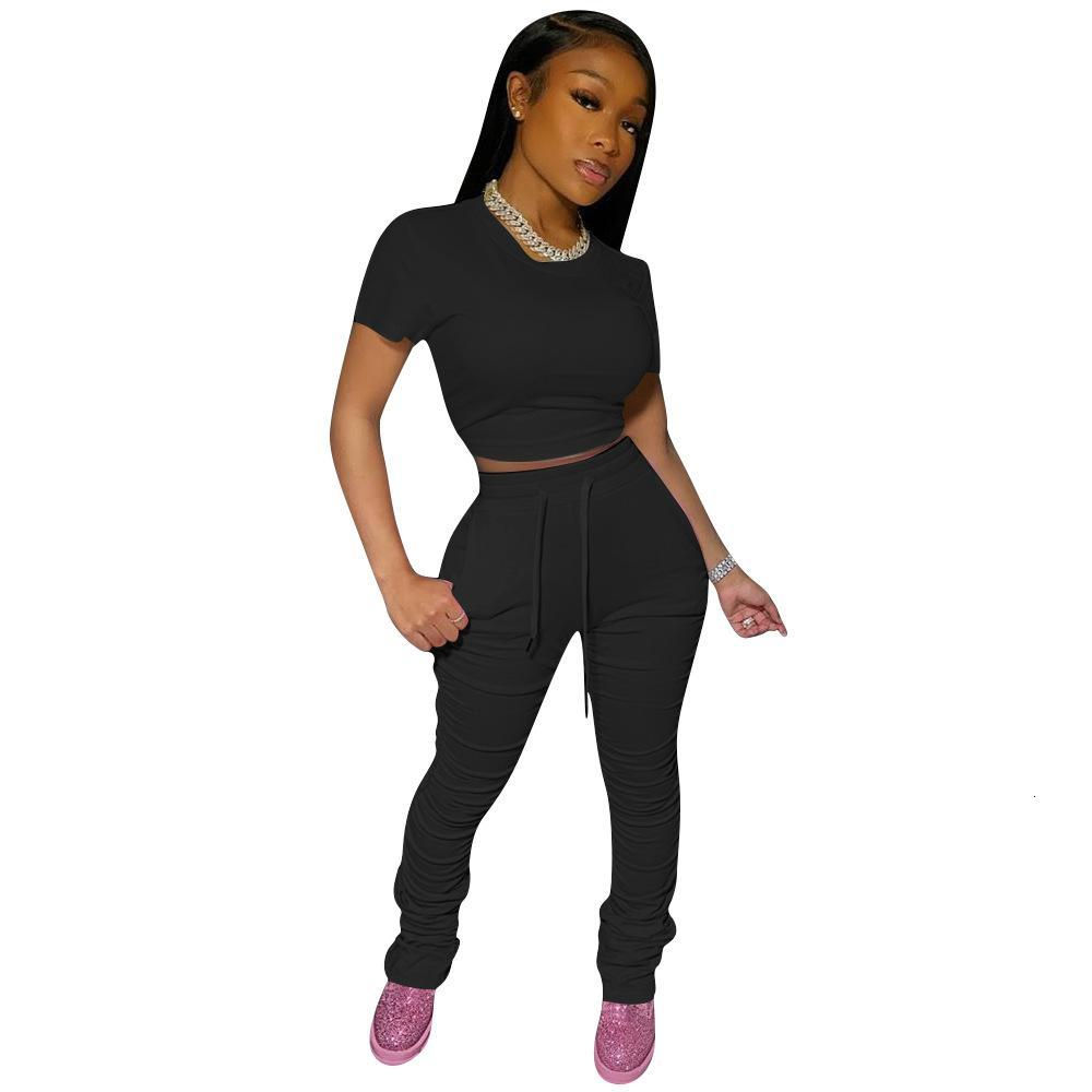 Women Tracksuit O-Neck Short Sleeves Crop Tops Stacked Bell Bottom Jogger Sweatpants Suit Two Piece Sets Sport Outfits 2020