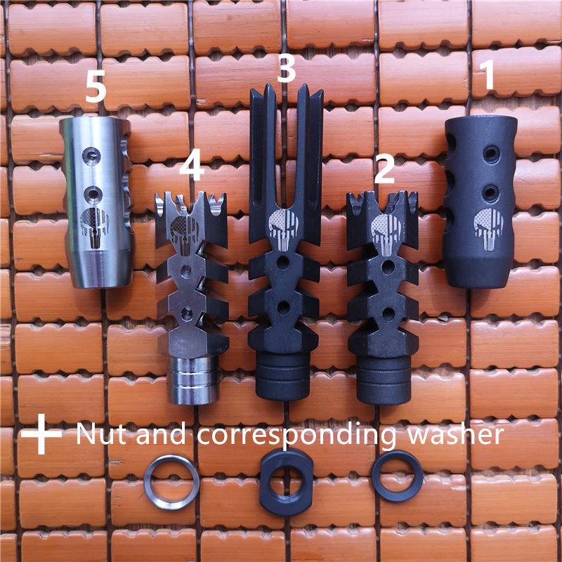 .223 .308 compact muzzle brake 1/2-28 5/8-24 flash hider with crush washer and jam nut