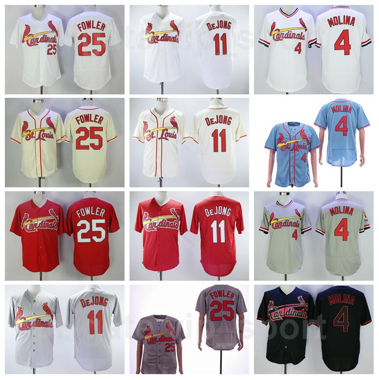 Baseball 2018 Style 25 Dexter Fowler Jersey 4 Yadier Molina 11 Paul DeJong Stitched Red White Grey Beige Black Pullover Flexbase Clearance