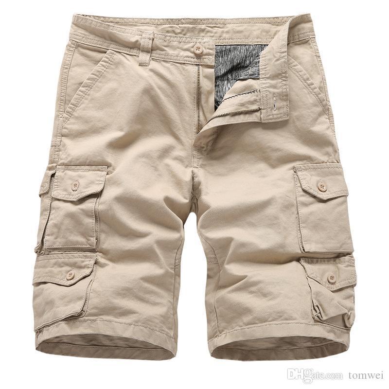 Mens Military Cargo Shorts Multi-Pockets Casual Short Pants Plus Size Cotton Shorts Brand Clothing 2019