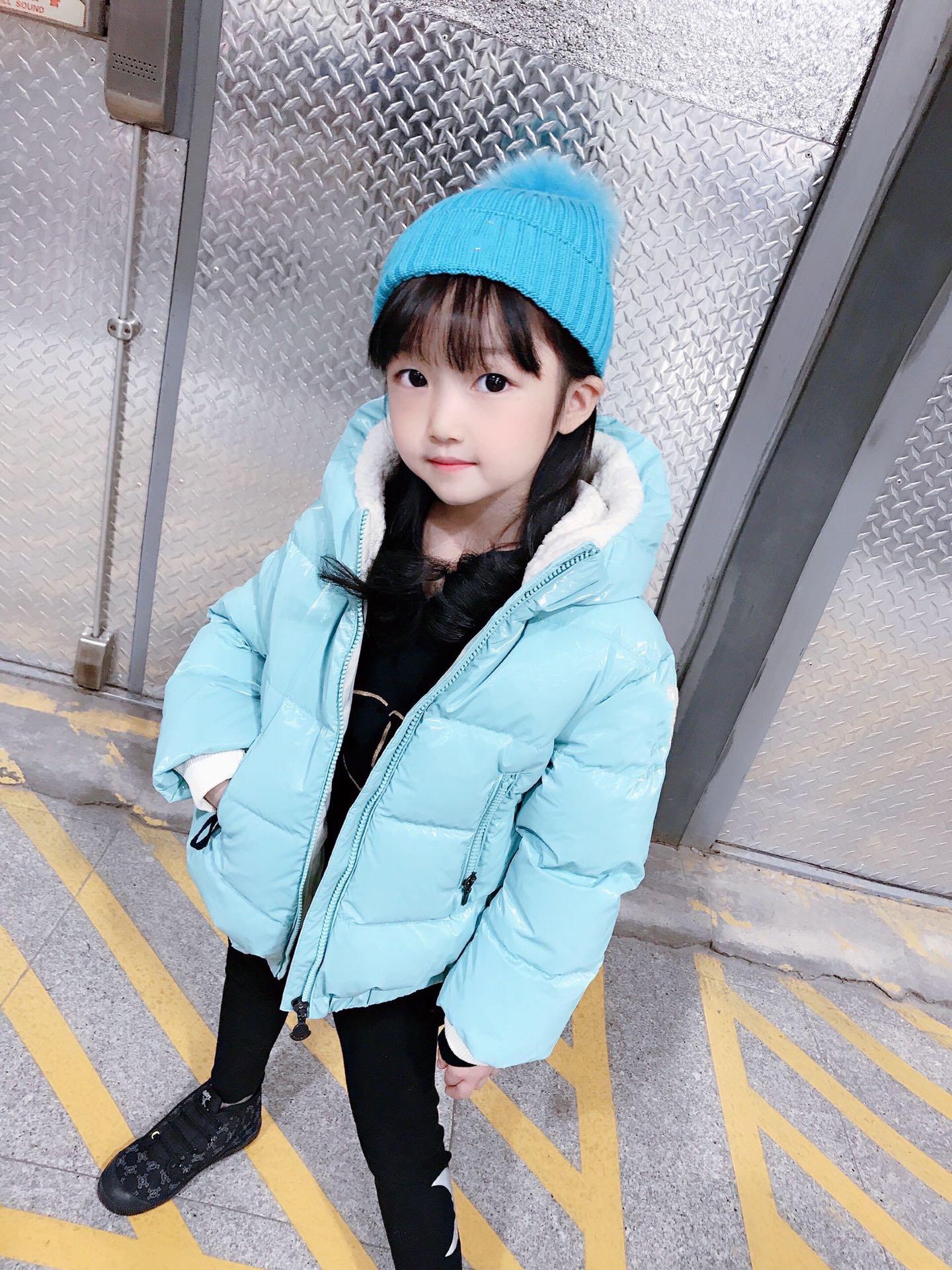 winter kids girls solid striped coat hooded children's down jacket babies girl snow wear outwear warm coats