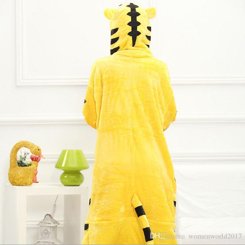 Yellow tiger Flannel Autumn and winter Cosplay Cartoon animals Pajamas for women adult Hooded Pajama sets