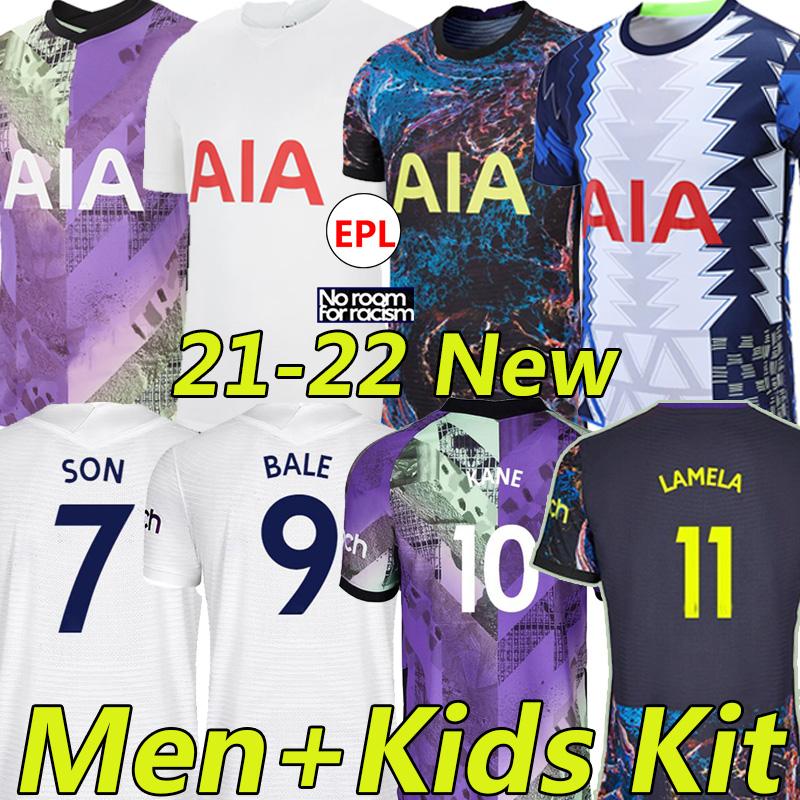 21/22 KANE SON BALE Soccer Jerseys ROMERO BERGWIJN TOTTENHAM 2021 2022 LUCAS DELE NDOMBELE Football shirt LO CELSO SESSEGNON men+kids kit uniform