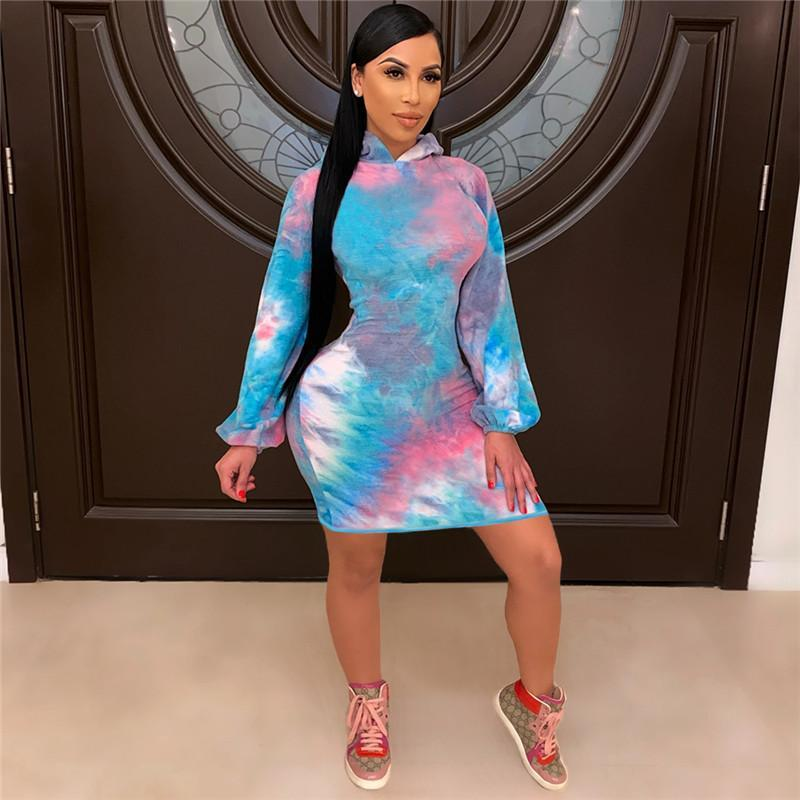 plus size Women sweater dresses tie-dye pullover hoody skirts Long sleeve gown bodycon mini skirt Playsuit fall winter clothes 3XL 2XL 4415