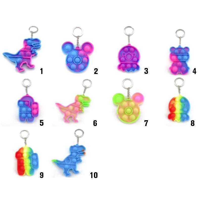 Fidget  Toy Sensory Jewelry key Chains Push Poo its Bubble Poppers Cartoon Simple Dimple toys Keychain Stress Reliever