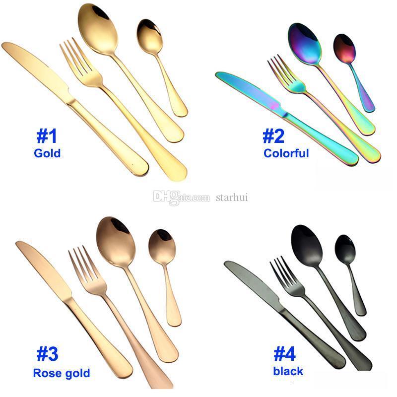 Stainless steel Gold Flatware Sets Spoon Fork Knife Tea Spoon Dinnerware Set Kitchen Bar Utensil Kitchen supplies Free DHL WX9-377
