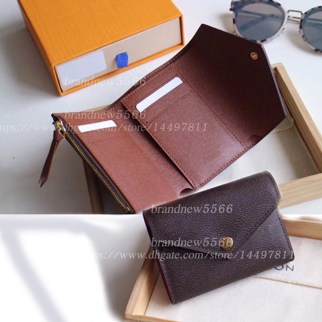 10 Colors Women's Folder Wallets Fashion Victorine Short Wallet Zipper coin pocket Flat pockets flowers date code original box dust bag
