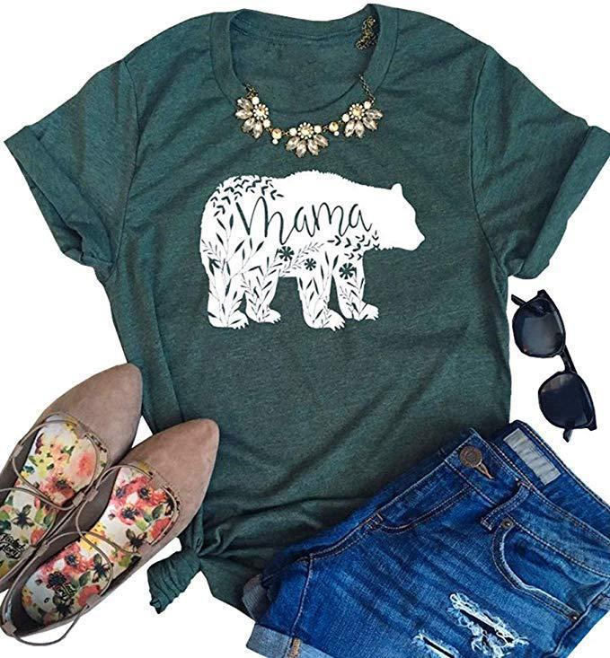 Women Summer Tshirt Designer MAMA Bear Print Letter T Shirts Short Sleeved Tees Crew Neck Shirt Womens Blouse Concise Style Clothing