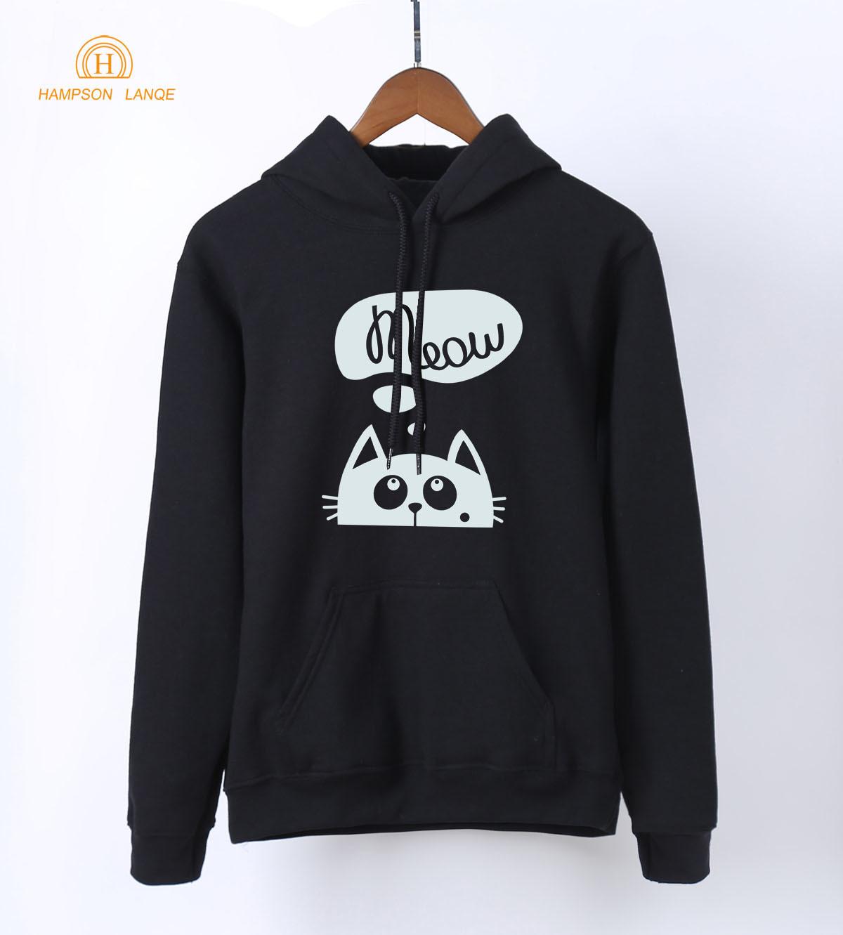 Meow Kawaii Cat Print Sweatshirts For Women 2019 Spring Autumn Women