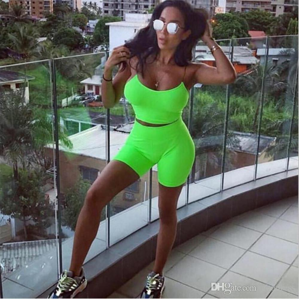 Women 2 two Piece Matching Sets Fluorescent Spaghetti vest tank Crop Top biker shorts Tracksuit Summer Neon skinny Fitness Outfits clothes