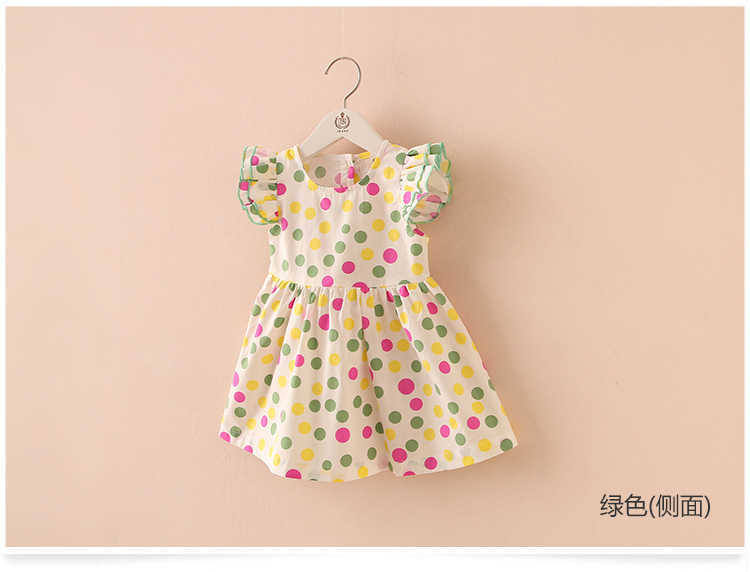 Summer 2-10 Years Beautiful Pretty Sweet Children Baby Kids Pleat Short Fly Sleeve Party Prom Polka Dot Dresses For Girls (7)