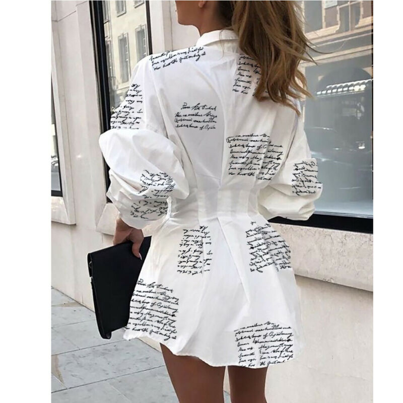 _2019_New_Arrival_Women_V_Neck_Long_Sleeve_Blouse_High_Waist_Printed_Dresses_Puff_Sleeve_Casual (1)