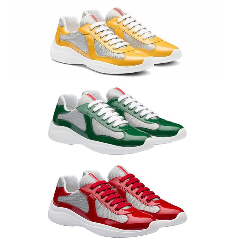 New America'S Cup Bike Fabric Sneakers Patent Leather Flat Trainers Rubber trim Designer Sneakers Mesh Lace-up Nylon Casual Shoes With Box