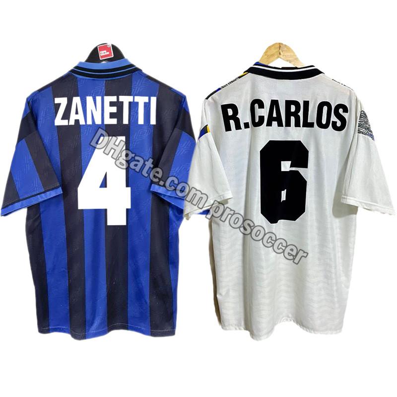 Retro Inter 1995/96 Soccer Jerseys Roberto Carlos Zanetti Berti Vintage Milan Shirt Classic Kit