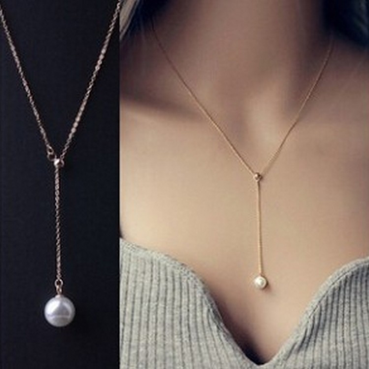 Clavicle adjustable necklace pearl pendant fashion necklace pearl mother pearl necklace wholesale free shipping 207 T2