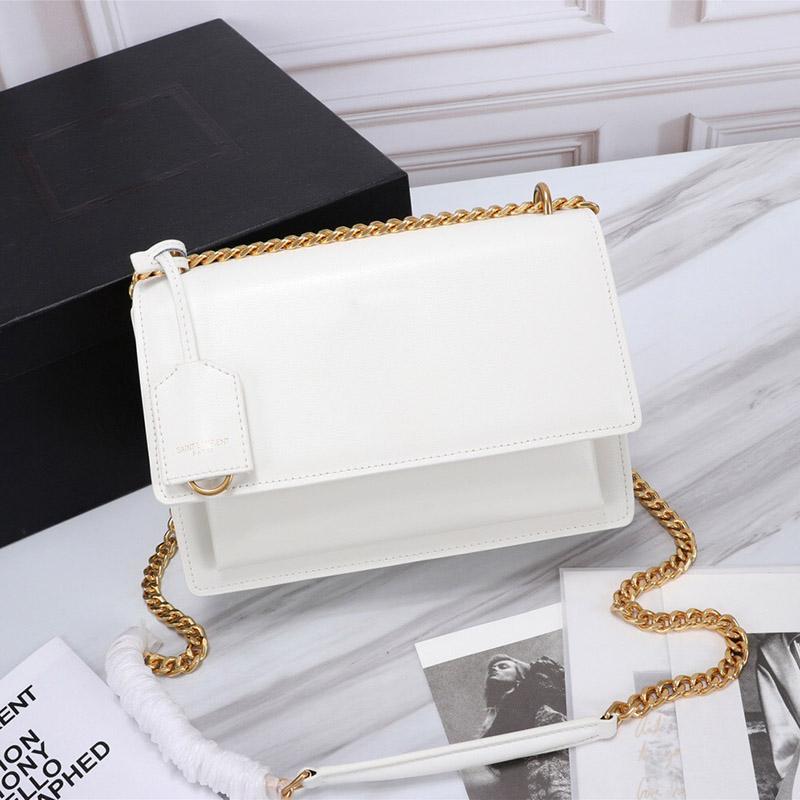 Women's crossbody bag High quality chain White flap bags Luxurys Designers 2021 SUNSET leather women shoulder purse fashion medium handbag luxury designer handbags
