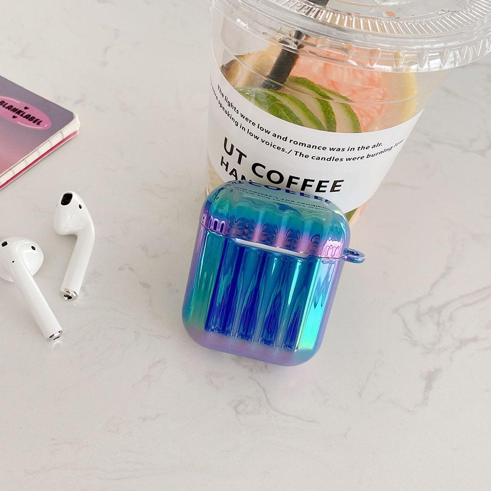 Earphone Case Cover for AirPods 1/2/3/pro Hard PC Suitcase 3D Laser Bling Strapes Gradient Glitter Wireless Earphone Shell Case