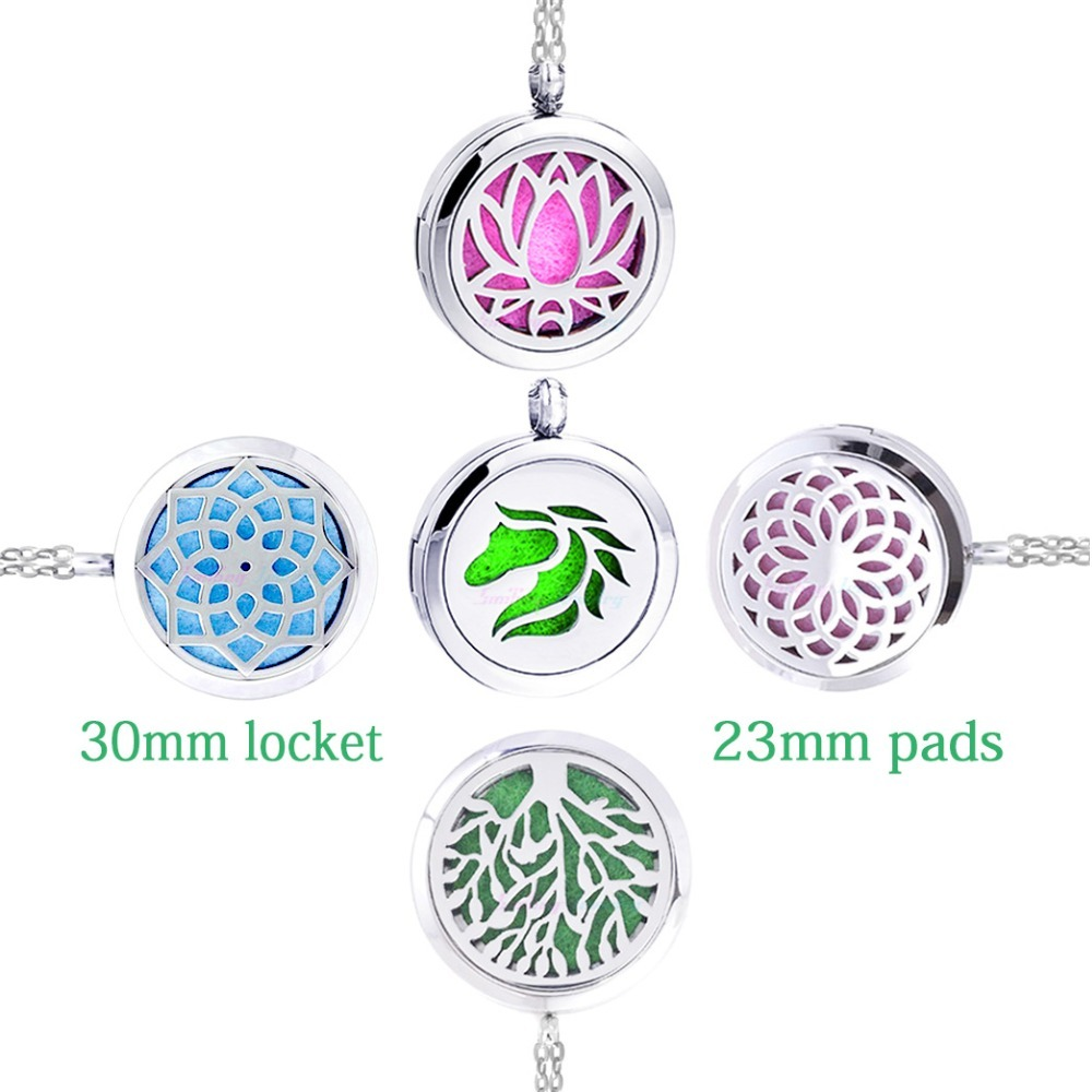 1pc-100-Real-Stainless-Steel-Locket-Necklace-Dream-Catcher-Sunflower-Pendant-Aromatherapy-Essential-Oil-Diffuser-Necklace
