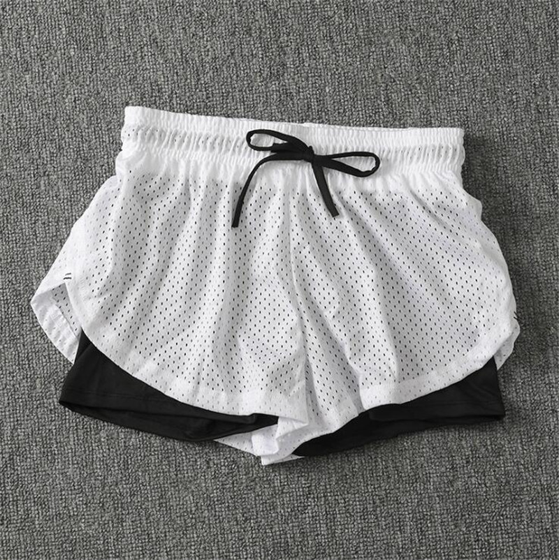 Summer Women Cotton Mesh Short Pants Work-out Two Layer Fitness Fold Short Pants Cool Wear Drawstring Clothing (25)