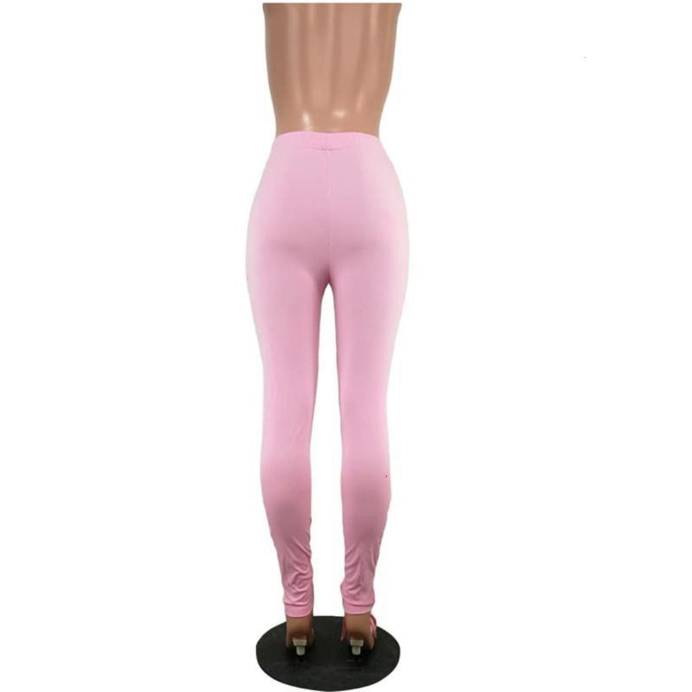 Solid Color Women Stacked Pants Casual High Waist Stretchy Ruched Skinny Sweatpants 20ss New Women Clothing