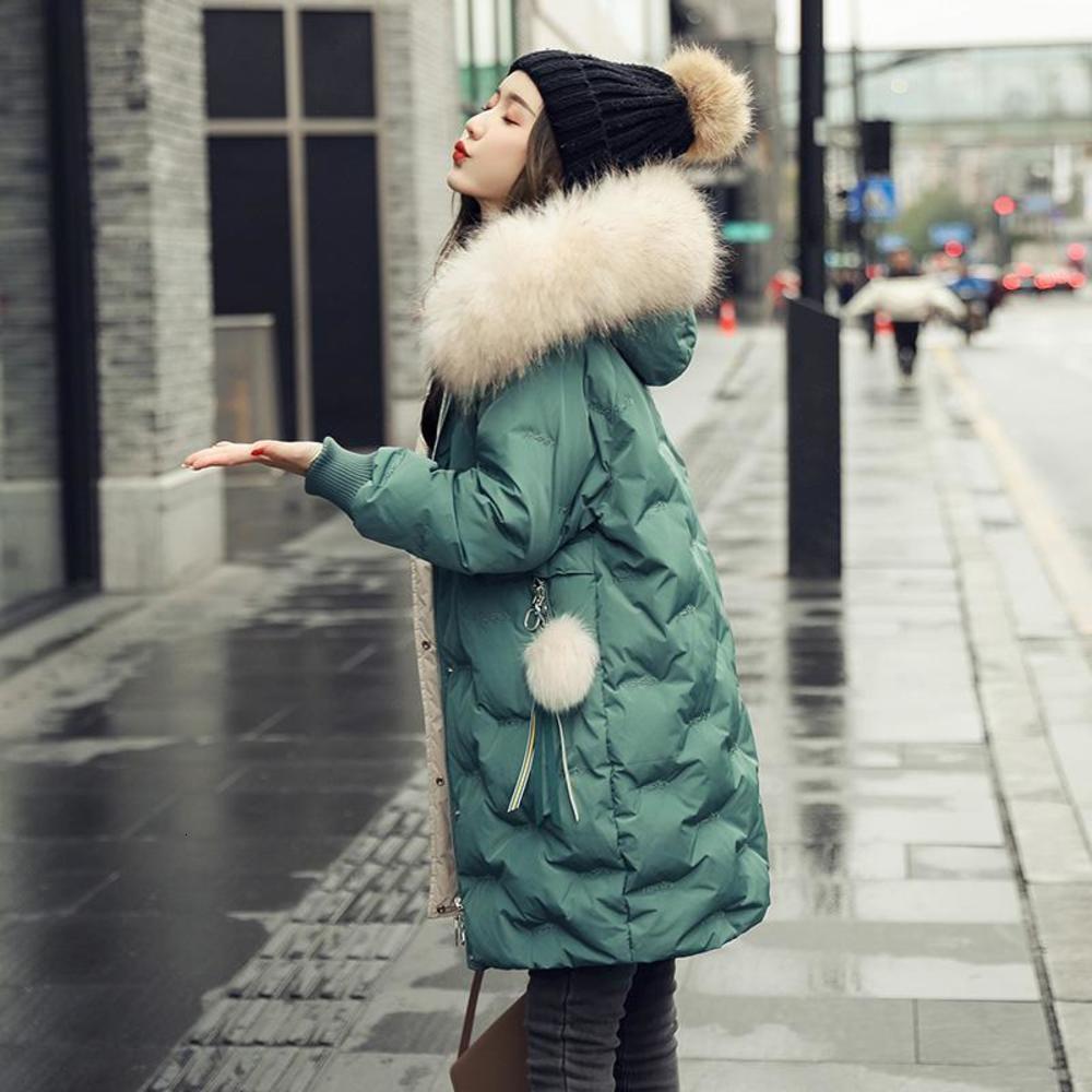 Women's fashion designer's 2020 green down jacket for women's winter
