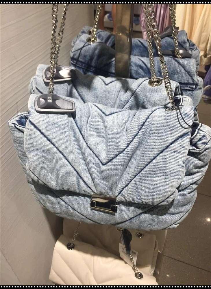 Vintage Blue Denim Women Shoulder Bags Designer Jeans Handbags Luxury Chains Crossbody Bag Over Large CapacityTotes Female Purse