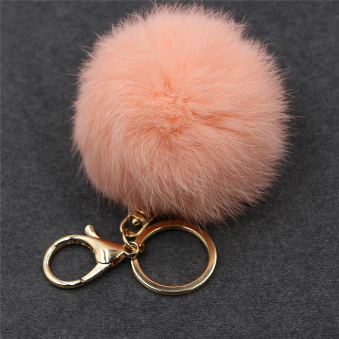 8CM ffy Pompom Real Rabbit Fur Ball Key Chain Women Trinket Pompon Hare Fur Toy keyring Bag Charms Ring Keychain Wedding Gift (16)