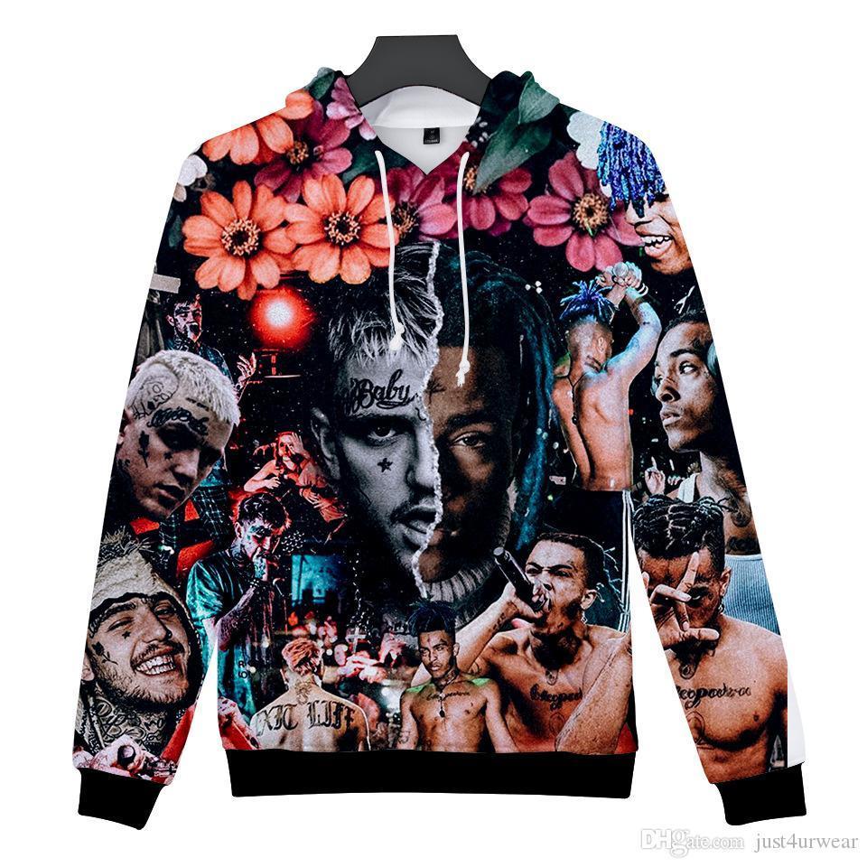 XXXTentacion Digital Print 3D Hoodies With Long Sleeve Hooded Sweater Hip Hop Mens Designer Hoodies Casual Zipper Pullover Hoodies