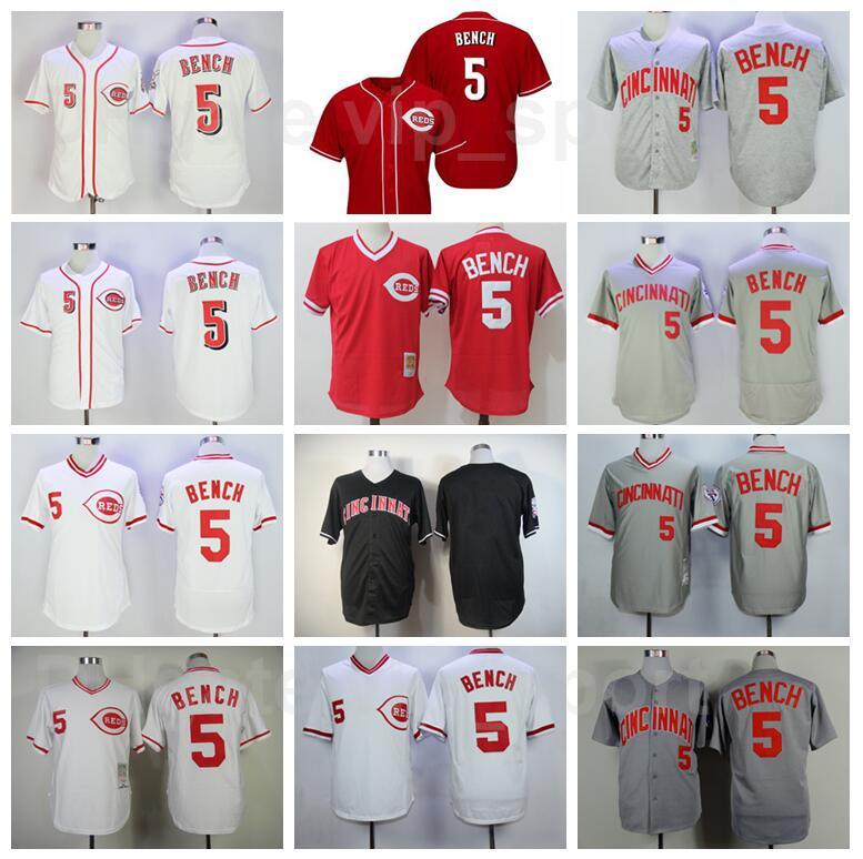Vintage Baseball 5 Johnny Bench Retro Jersey Men Pullover Stitched Flexbase Cool Base Team Red White Black Grey Camo 1969 1975 1976 1990