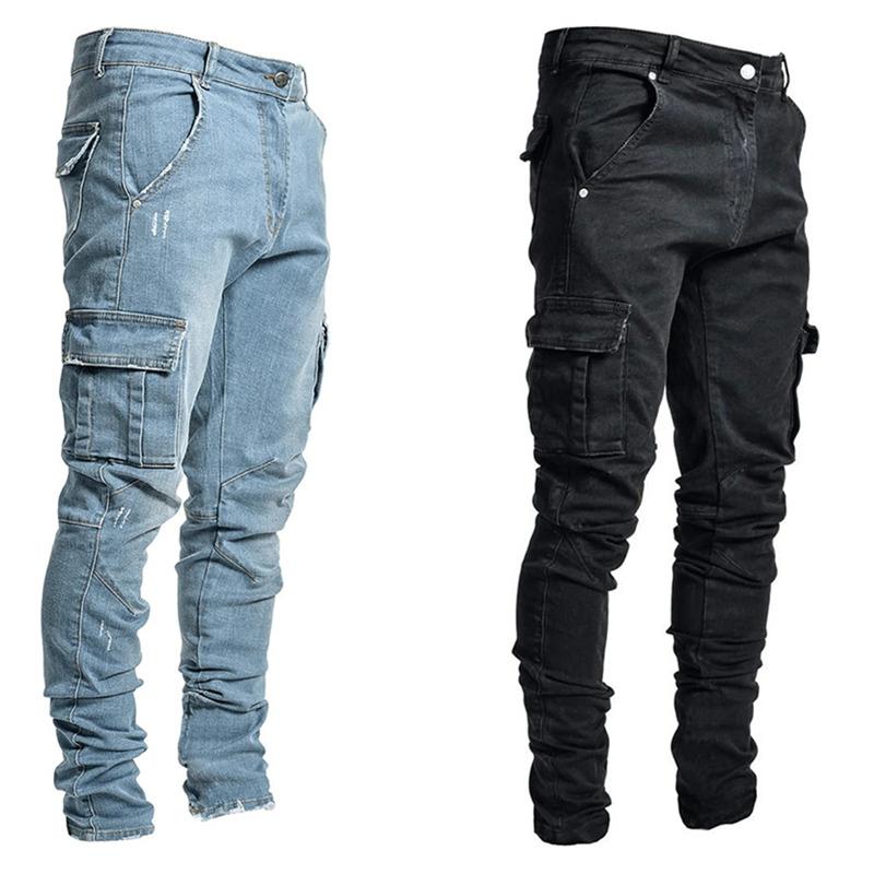 Jeans Men Pants Casual Cotton Denim Trousers Multi Pocket Cargo Jeans Men New Fashion Denim Pencil Pants Side Pockets Cargo Y0127