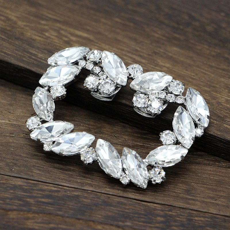 1pc Fashion Rhinestone Shoe Square Bowknot Shape Clips Silver Shoes Buckle Elegant For Shoe Decorations For Women Girl