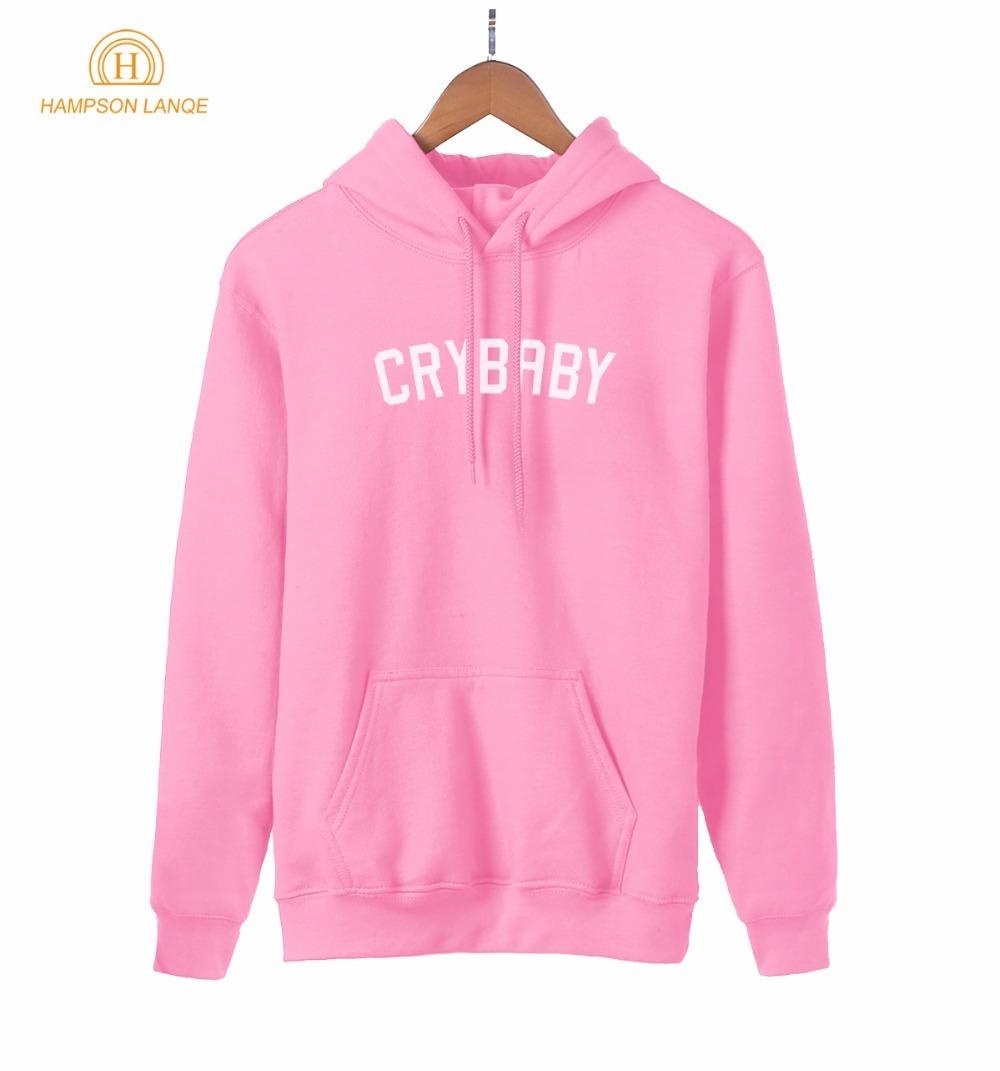 HAMPSON LANQE Crybaby Cry Baby Kawaii Pink Sweatshirt Female 2019 New Style Spring Autumn Women Hoodie Fleece Casual Streetwear
