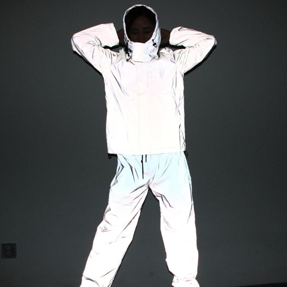 Free Drop shipper Joggers men's reflective pants men hip hop women dance dancing night light shiny blink long pants