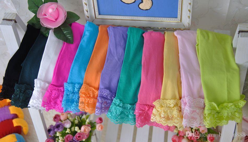 Girls Velvet Leggings Lace Pants Render pants Children's Baby Velvet pantyhose candy colour