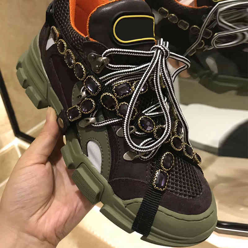 Brand Women Designer Shoes Flashtrek Sneaker Mountain Climbing Shoes Men Runner Shoes Genuine Leather Brand Hiking Boots W1