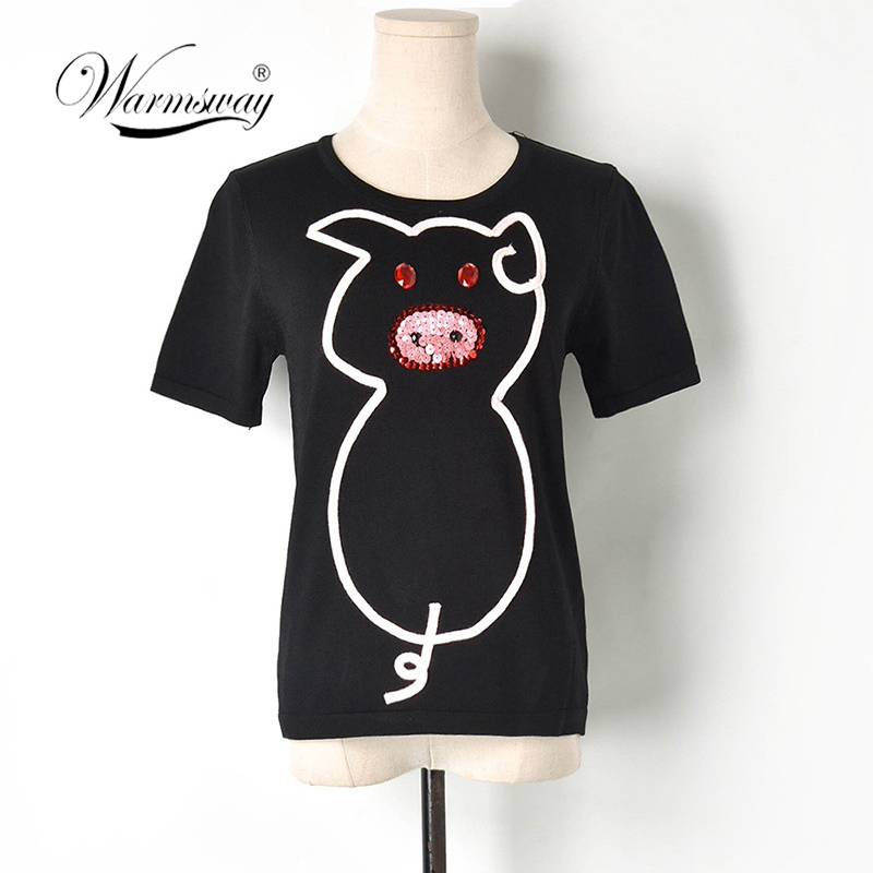 Summer Women Tops And Tees Shirt Femme Fashion Pig Animal Harajuku Short Sleeve Tshirt Casual T-Shirt For Ladies B-106