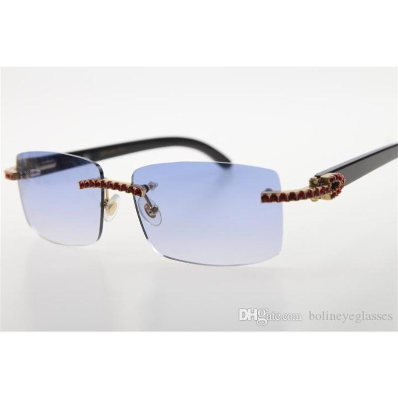 Wholesale 3524012 Red diamond Rimless Black Genuine Natural Horn Sunglasses Exquisite Men stone Unisex Horn Glasses outdoors driving glasses