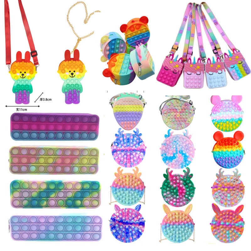 DHL Fidget Toys Sensory Fashion Bag kid Push Bubble Rainbow Anti Stress Educational Children And Adults Decompression Toy-