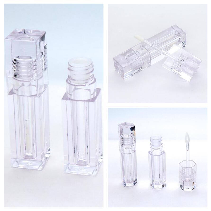 Empty Lip Gloss Tubes 5.5 ML Square Hexagon Shape Clear Lip Balm Tubes Container Organize Lipstick Refillable Bottles Lip Gloss Tube