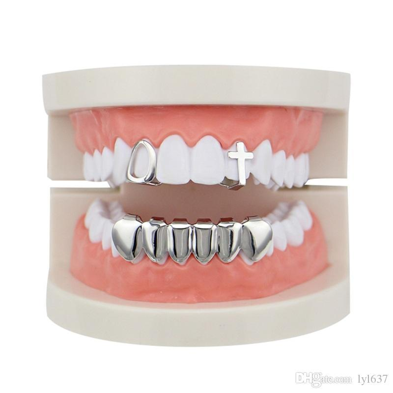 Geometric Hollow Cross Dental Grills Set Hip-hop Gold-plated Copper Glossy Braces Accessories Punk Women Men Party Teeth Decoration Jewelry