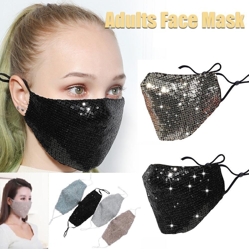 Fashion Sequin Face Masks Unisex Color Face Mouth Masks Keep Warm Reuse Popular Protetive Mask Mix COlor XHH9-3032