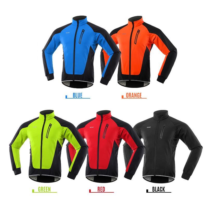 Men Cycling Jacket Waterproof Windproof Thermal Fleece Bike Jersey MTB Bicycle Riding Running Autumn Winter Jacket Coat