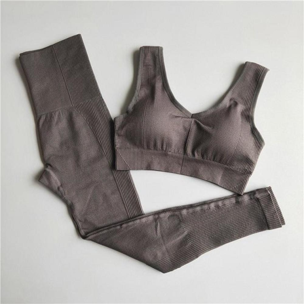 Set Women Seamless Yoga Set Fitness Clothing High Waist Leggings+Sport Bra Gym Workout Clothes Woman Jogging Sportwear