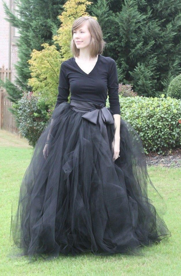 2015 Black Long Ruffles Skirts Custom Made A-Line Floor Length Tulle Tutu Adault Prom Party Skirt Plus Size Ball Gown Skirts