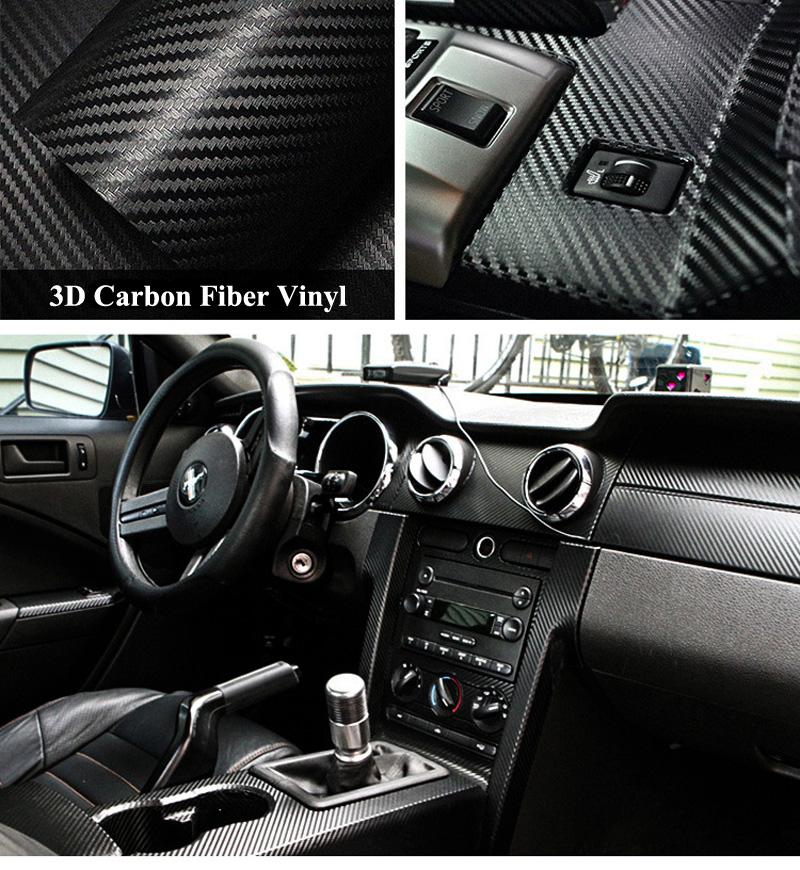 Black 3D Carbon Fiber Vinyl Film Wrap-8